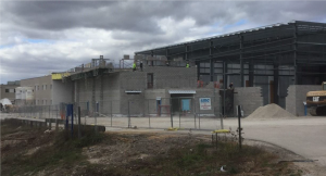 Exterior of fieldhouse and addition under construction