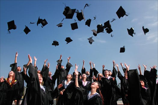 Graduates with caps