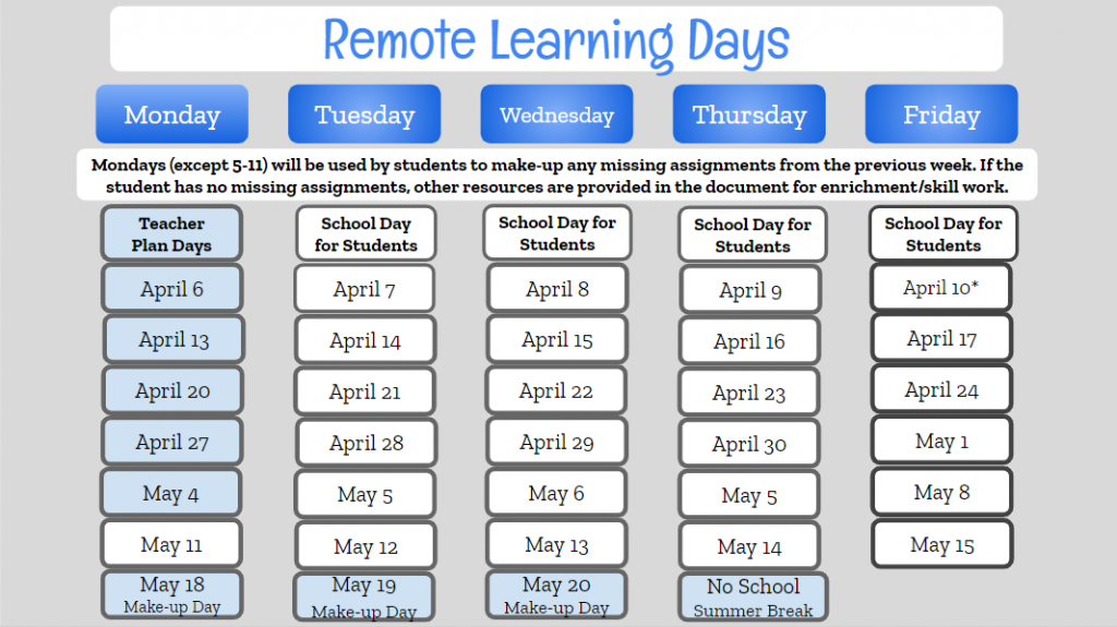 MS HS Remote Learning Schedule